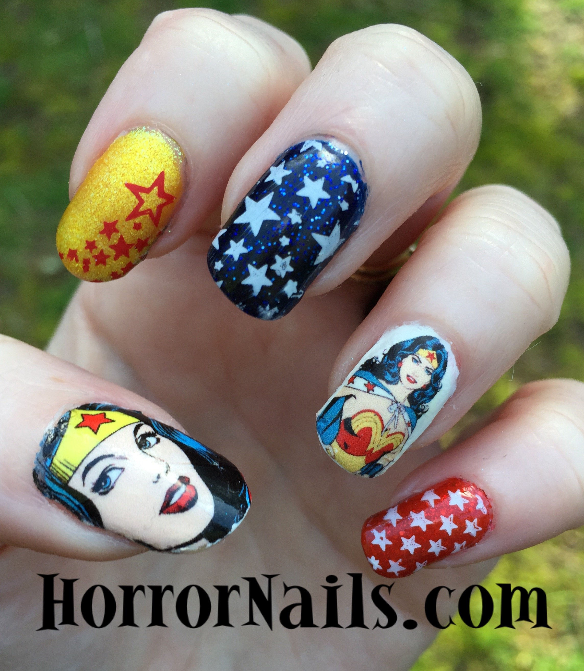 Wonder Woman Nail Art by Horror Nails