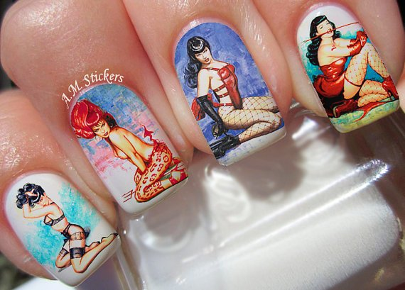 Bettie Page decals from AMnails