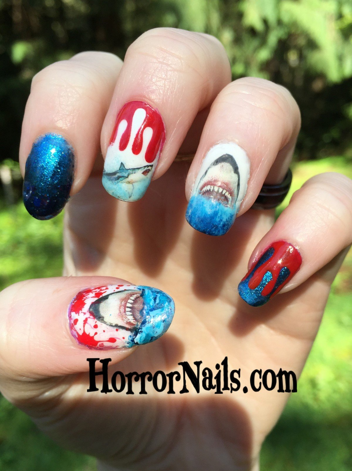 Jaws Nail Art - Horror Nails